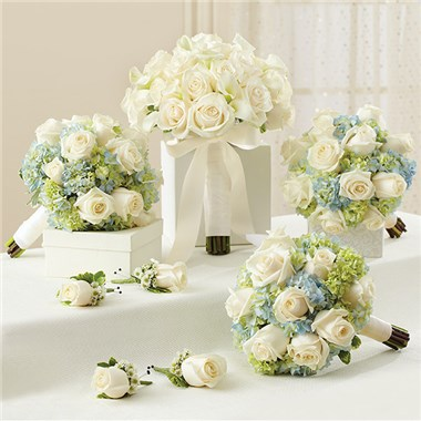 800 FLOWERS BLUE AND WHITE PERSONAL PACKAGE 1 BLUE BRIDAL BOUQUET